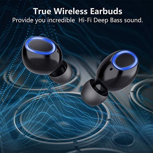 True Wireless Earbuds, Zttopo Bluetooth 5.0 Earphone w 3000 mAh 110Hr Play, Deep Bass SweatProof Sport Headphones, 3D Hi-Fi Stereo Sound Headsets with Built-in Mic for iPhone and Android.