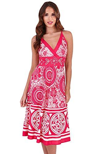 2 Robe Coton Imprimé Floral Midi Femmes Pistachio Pink Aztèque Circle Bretelle Ou Tc1lKFJ3