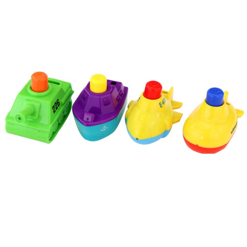Rocita Bath Toys Boys Girls Pool Toy Water Jet Tanks Airplanes Ships Submarine Bathtub Toy Boys Girls 1 Set(4Pcs)