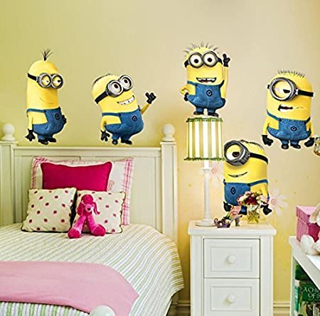 5 Minions Despicable Me Removable Wall Stickers Decal Home Decor Kids Room Large