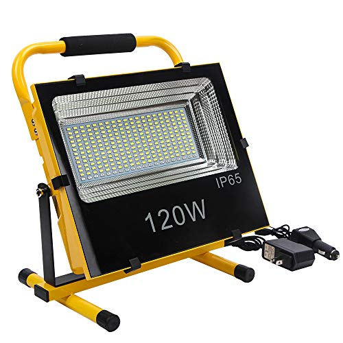 FISHNU 120W Rechargeable Portable Led Work Lights,Built-in Lithium Batteries Stand Working Flood Lights for Very Wide Construction Site,Factory,Car Charger Included -