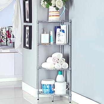 Amazon.com: 4 Tier Glass Corner Shelf Storage Rack Steel Bathroom ...