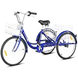 Goplus Adult Tricycle Trike Cruise Bike Three-Wheeled Bicycle w/Large Size Basket for Recreation, Shopping, Exercise Men's Women's Bike (Blue, 24' Wheel)
