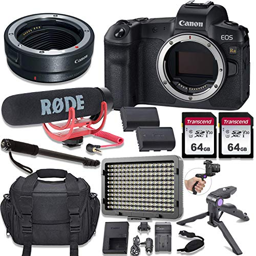 Canon EOS Ra Mirrorless Digital Camera (Body Only) Kit + Canon EOS R Mount Adapter + Video Accessory Bundle with Rode Video Go Mic, 2 pcs 64GB Memory, LED Light & More