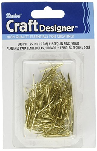 "Darice 38042 Sequin PIN NO12 Gold Iron .75IN 300PC Box, 0.75"""
