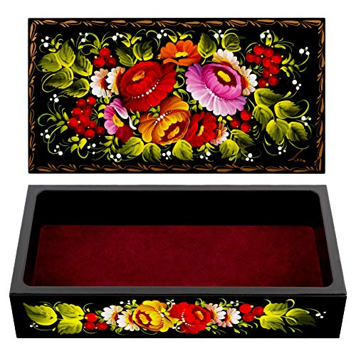Unique Red Lacquer Jewellery Box - UA Creations Petrykiv Ethnic Rectangular Lacquer Wooden Jewelry Box with Lid, Hand Painted Flowers on Black, Beautiful Floral Design Gift for Girls and Women (red and Yellow)