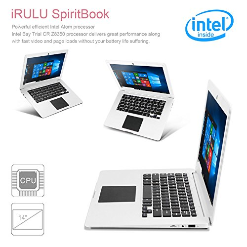 iRULU SpiritBook S1 Large 14.1 Inch Windows 10 Laptop Computer PC Ultrathin Light Notebook Laptop Intel Quad Core 1.33GHz 32GB ROM Bluetooth 4.0 MINI HDMI Laptop