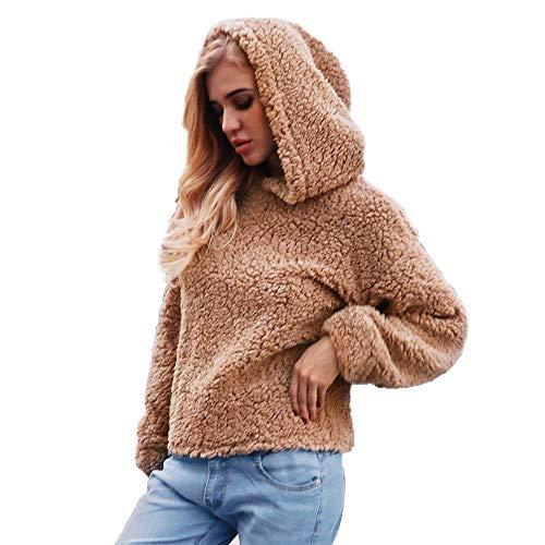 Sunhusing Womens Faux Wool Lambskin Solid Color Hooded Sweater Coat Winter Soft Warm Outerwear -