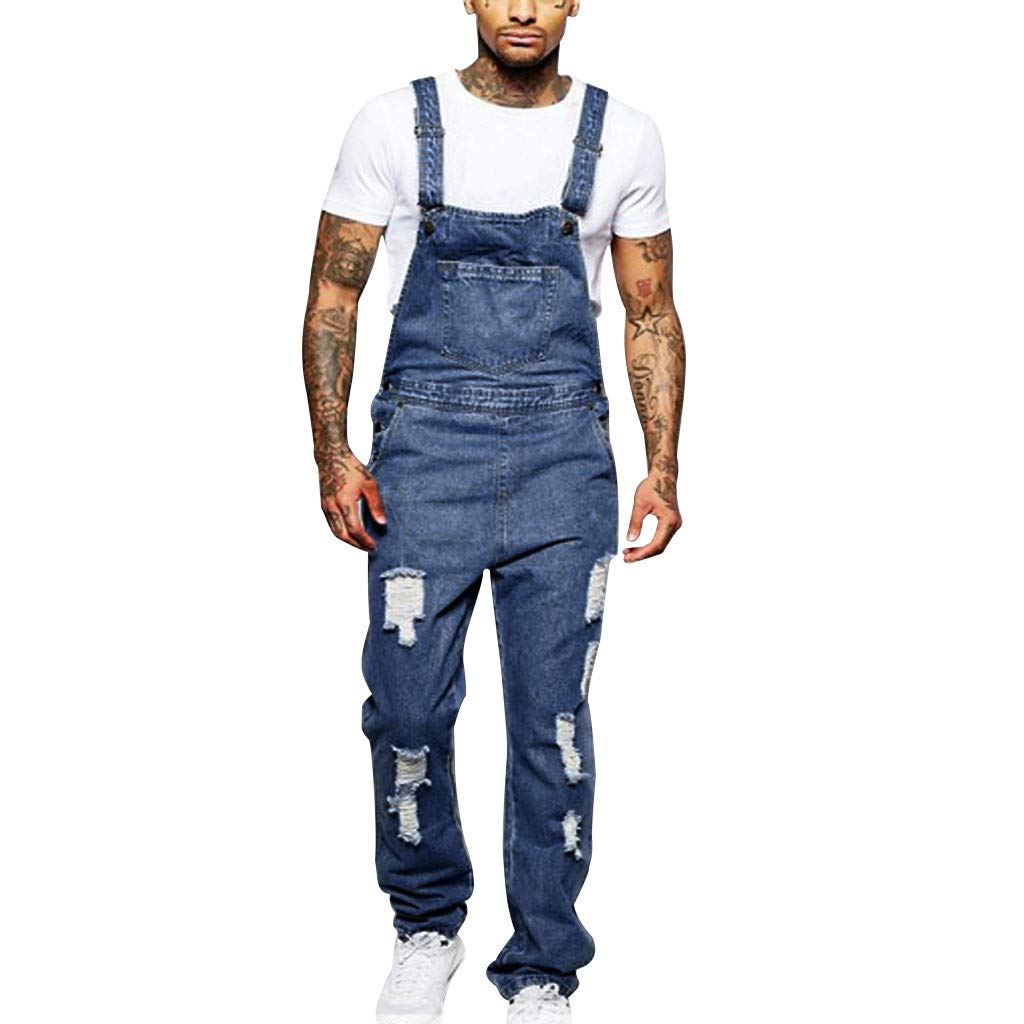 Men Jumpsuit Jeans,Casual Fashion Slim Fit Ripped Denim Distressed Overall with Pockets (US:30, Blue)