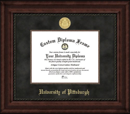 University of Pittsburgh Panthers - Gold Medallion - Suede Mat - Mahogany - Diploma Frame