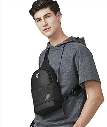 Travel Shoulder Fandare Riding Crossbody Sport Sling Casual Men Ipad Polyester Gym Black Waterproof Bag Chest 9 Camping Inch 7 Outdoor CqC1R67wx