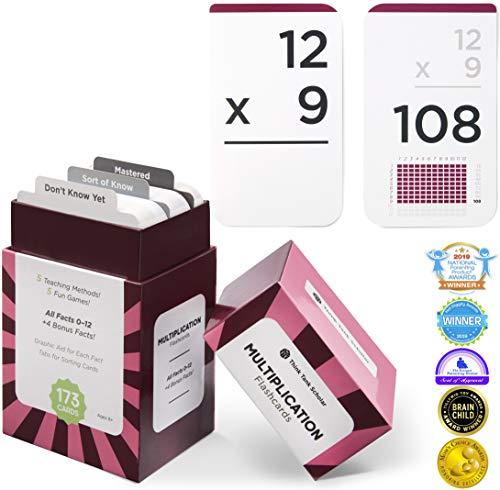 Think Tank Scholar 173 Multiplication Flash Cards | All Facts 0-12 Color Coded | Best for Kids in 3rd, 4th 5th & 6th Grade