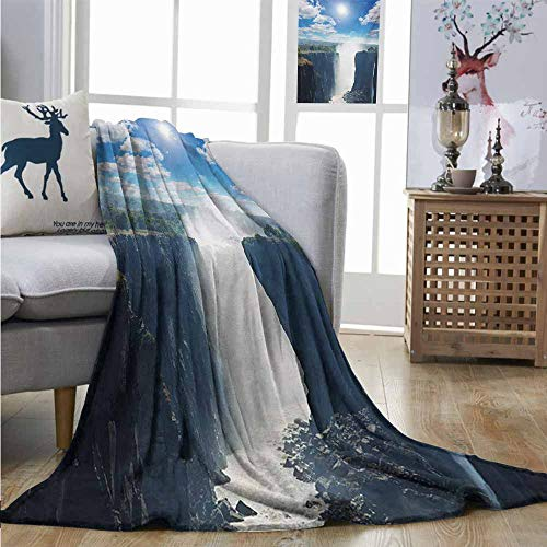 Mountain Wool Knitting Yarn - Homrkey Throw Blanket Waterfall Victoria Waterfall and Mountain Cliff Sunshine Natural Landscape Photo Blankets and Throws W54 xL84 Blue White Green