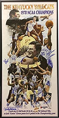 1978 Kentucky Wildcats National Championship 14.5x28.5 Signed Framed Poster (5-sigs) Jack Givens/Mike Phillips- Guar to Pass - JSA Certified