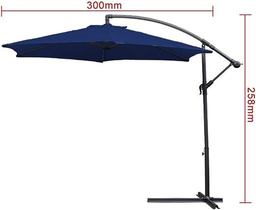 HG/® 3.0m Sombrilla de jard/ín Protecci/ón Solar Para terraza jard/ín Exterior con Manivela Parasol Azul