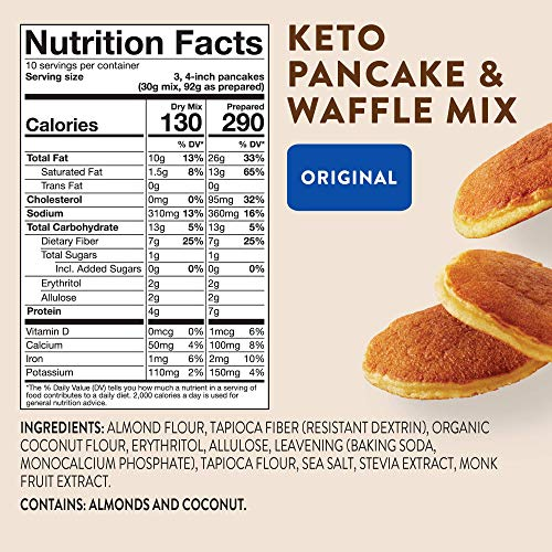 HighKey Snacks Keto Food Pancake, Waffle & Bread Mix - Gluten Free Low Carb Foods - Protein Breakfast Products - No Sugar Added Sweets & Treats - Diabetic & Paleo Diet Friendly - 30 Pancakes