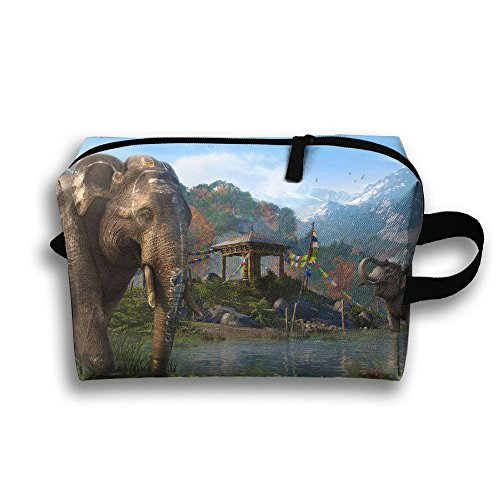 Travel Bags Elephant In River Portable Storage Bag Clutch Wallets Cosmetic Bags Organizer Zipper Hangbag Carry Case]()
