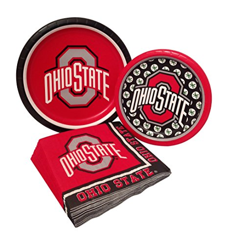 Ohio State Party Supply Pack! Bundle Includes Paper Plates & Napkins for 8 Guests (State Supply)