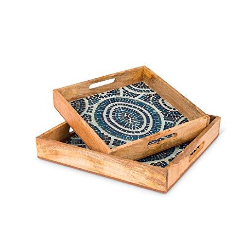 (Lone Elm Studios 94321 S/2 Blue Mosaic Wood Sq Trays Christmas, 0InL x 0InW x 0InH, Multicolor)