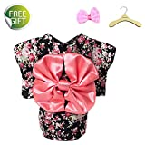 Newtensina 2017 New Pets Dress Dog Clothes Fancy Puppy Kimono Design Dress Gown for Dog - Include a Pink Hair Clips & a Hanger-Black-S