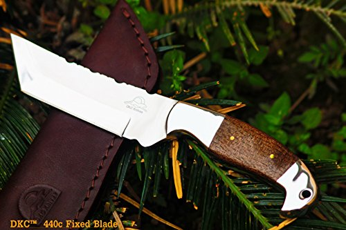 DKC-42-440c-OTTER-440c-Stainless-Steel-Tanto-Fixed-Hunting-Knife-Mahogany-Micarta-9-Long-45-Blade-10oz-DKC-Knives-Very-Solid-Knife