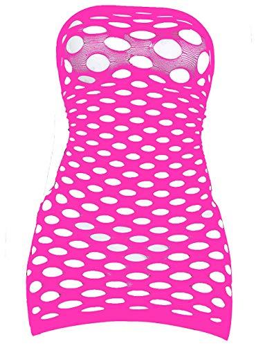 (LemonGirl Women's Mesh Lingerie for Women Fishnet Babydoll Mini Dress Free Size Bodysuit Rose)