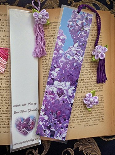 - Blooming Lilacs Spring Floral Photo Bookmark w/ Lilac & Pearl Ribbon Flower Fine Art Photography Laminated Handmade Bookmark