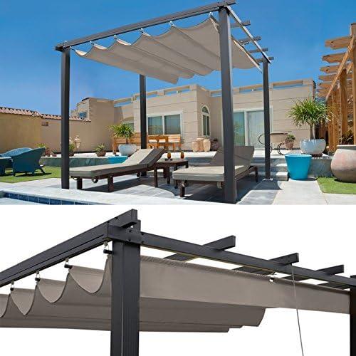 IDMarket Pergola tejado retráctil Topo 3 X 3 M cenador 4 patas ...