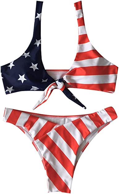VECDY Bikinis Mujer 2019 Brasileños, Sujetador Sexy Bañadores con Relleno Reductores Estampado con La Bandera Estadounidense Bañarse Sling Traje De Baño Ropa De Playa Monokini Verano (Rojo,XL): Amazon.es: Ropa y accesorios