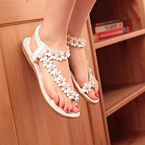 Sandals Amazing Women's Fashion Sweet Summer Bohemia Beaded Clip Toe Beach Shoes (Color Optional) (Color : A, Size : EU39/UK6/CN39) A