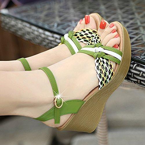 Zapatos de Grueso Bollo los de los Fondo Dedos Verano pies 8cm blue En Tacones Moda Pendiente Elegante Sandalias AJUNR Transpirable Tacones de Dama wq1aUnH
