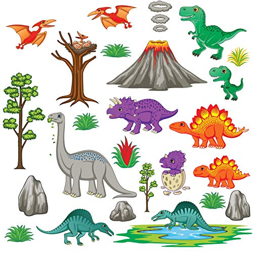 treepenguin Dinosaur Land Wall Decals - Playful Prehistoric Wall Stickers for Nursery and Kids Rooms - Peel and Stick Wall Decor ()