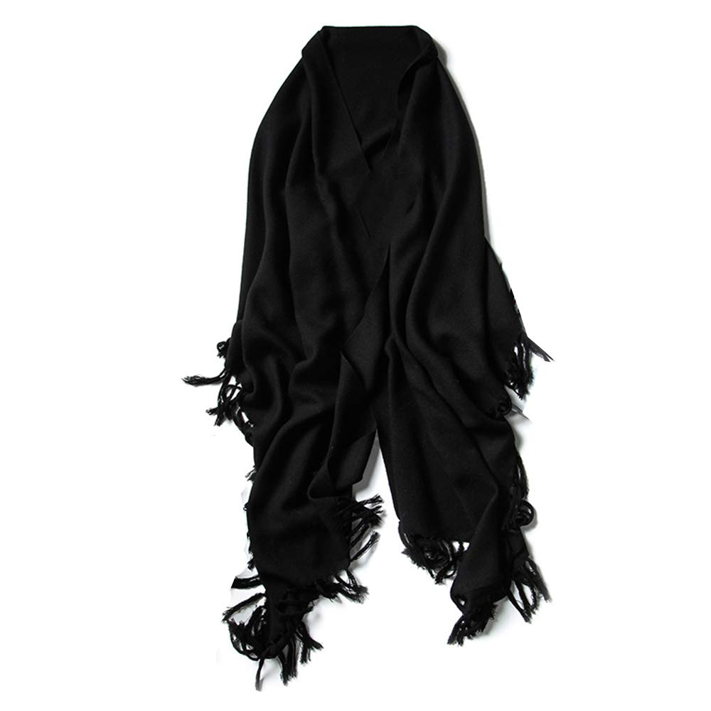 Black Women's Autumn and Winter Scarf Cold Predection and Soft (color   White)