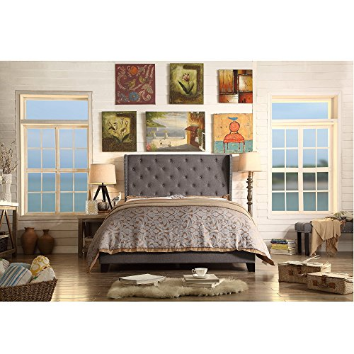 (Rosevera Olympia Tufted Upholstered Bed with Nailhead Wingback)
