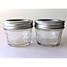 Mason Ball Jelly Jars-4 oz. each - Quilted Crystal Style-Set of 2