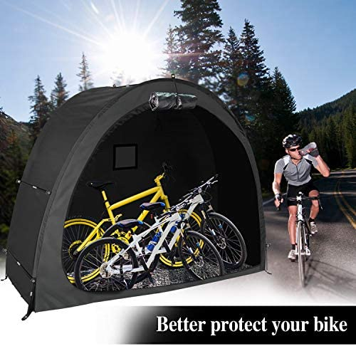 lehorra Foldable Bicycle Tent, Outdoor Alloy Bracket Bike Storage Shed Portable Thicken Waterproof Fabric Bike Storage Cover Shelter with Window Design for Camping Home Garden…