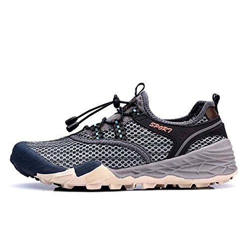 Onfly Bomba Malla Hilado de red Zapatos deportivos Zapatos casuales Hombres Respirable Color puro Halar Cordon de zapato Antideslizante Snekers Al aire libre Zapatos de escalada Zapatos de senderismo  Grey