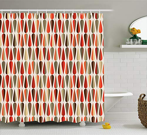 Ambesonne Retro Decor Shower Curtain, Home Decor 60s 70s Style Geometric Round Shaped Design with Warm Colors Print, Fabric Bathroom Decor Set with Hooks, 70 Inches, Orange Cream