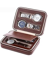Aco&bebe House Black Zippered Watches Box Travel Case - Watch Organizer Collection - Top Grade Carbon Fibre PU Leather (Coffee-4 Slots)