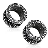 BodyJewelryOnline Pair of Metallic Splatter Black 316L Surgical Steel Screw Fit Tunnel - 9 Sizes Available (05mm - 4 Gauge)