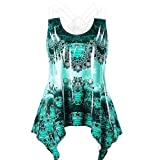 Women Tops Cold Shoulder, Tank Tops for Women Floral,Fashion Women Printed Tank Up Sleeveless Vest O-Neck Lace Bandage Blouse Green