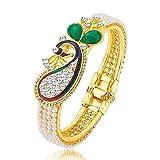 Jewel Farm Gold Peacock Ruby Stylish Party wear Bangles Bracelets/Bangles for Women Girls Necklace Jewellery