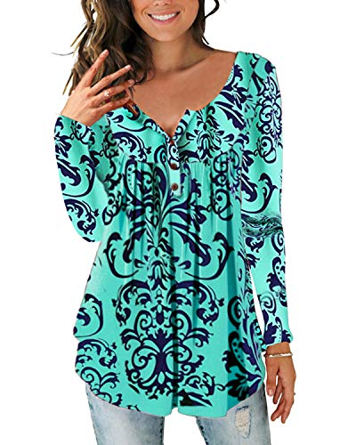 Women's Paisley Printed Button Top Long Sleeve V Neck Pleated Casual Flare Tunic Loose Blouse Shirt 5602Green-XL