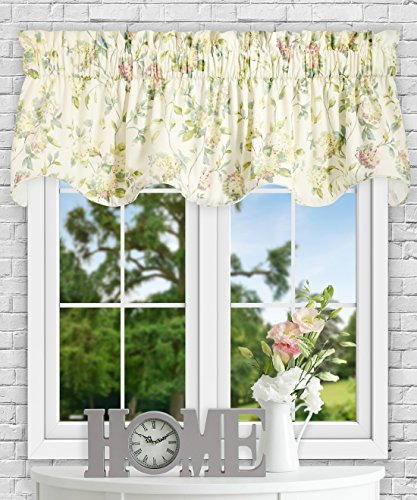 Simple Comfort Abigail Traditional Hydrangea Floral Print (Lined Scallop Valance, 70 x 17