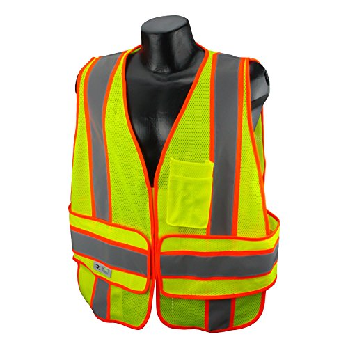 Safety Two Tone Expandable Vest - Radians SV23C-2VGM-3X/5X Class 2 Expandable Two Tone with Chevron Back, Hi-Viz Green, 3X-Large/5X-Large