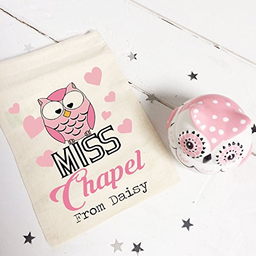 Personalizzata per insegnante, confezione regalo con motivo: Gufo in ceramica con contenitore per dolci e caramelle