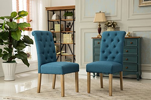 Finished Frame Set (Roundhill Furniture Habit Solid Wood Tufted Parsons Dining Chair (Set of 2), Blue)