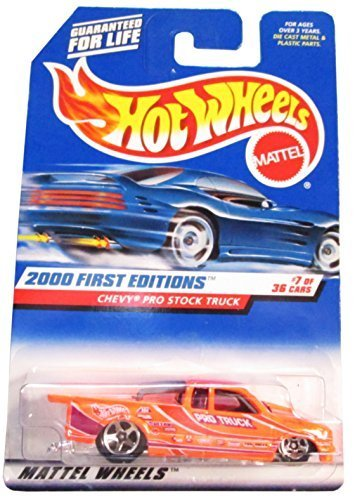 (Hot Wheels - 2000 First Editions - Chevy Pro Stock Truck - Neon Orange - Collector #067 - 7/36 - Die Cast - Limited Edition - Collectible 1:64 Scale)