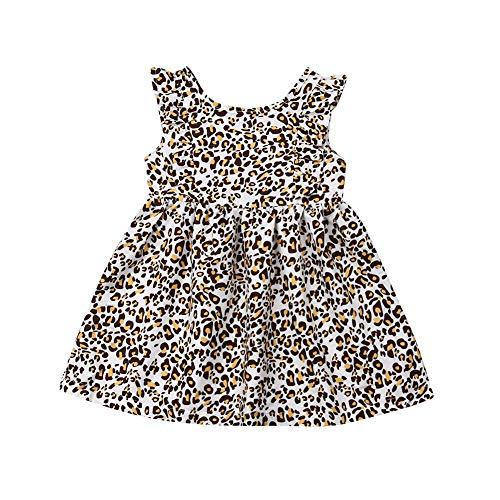 Toddler Baby Girl Animal Flamingo Sleeveless Tutu Tulle Dresses Sundress Outfits (Leopard, 3-4 Years)]()