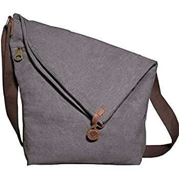 Kemy's Canvas Travel Crossbody Bags for Women Vintage Over the Shoulder Body Bag Traveling Satchel Large Gray Thanksgiving Day Christmas Gift